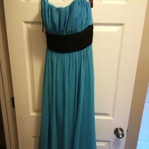 Teal Blue Gown w/ Empire Waist & Black Sash Size 8